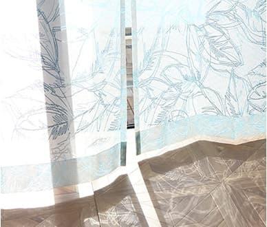 繊細なデザインワークが大人上品なレースカーテン ~オハナ~ ブルー