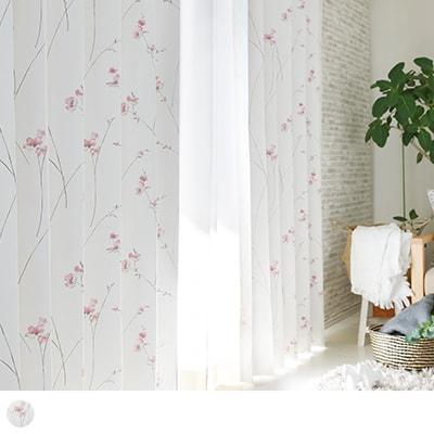 淡い桜を連想させる水彩画タッチが一面に広がる完全遮光カーテン~リディ~
