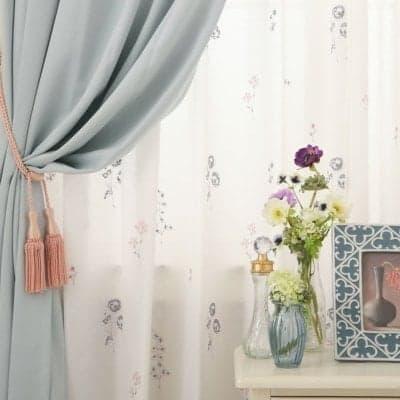 帝人のエコリエを使用!当店オリジナル刺繍レースカーテン ~プランタン~ ブルー×ピンク
