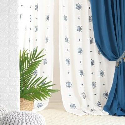 帝人のエコリエ×モロッカンな刺繍が自慢の当店オリジナルレースカーテン ~マジョレル~ ブルー