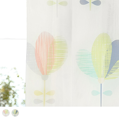 子供部屋にぴったり!カラフルなお花が可愛いデザインのミラーレースカーテン ~ピリップ~