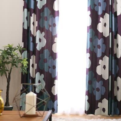 大きな花柄が印象的な北欧調遮光カーテン ~アーノルディ~