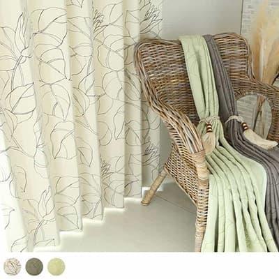 遮光カーテン 防炎 花柄 のびやかなフローラル&リーフデザイン。大人フェミニンなお部屋に <カーム>