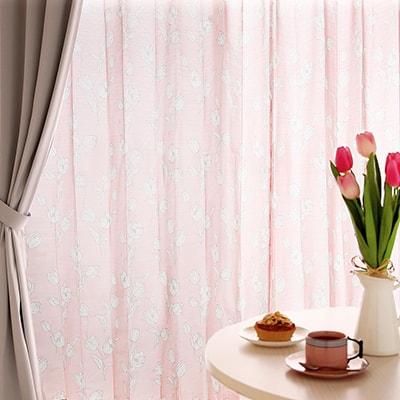 機能もしっかり!優しいピンクの春色レースカーテン~チューリップ~ピンク