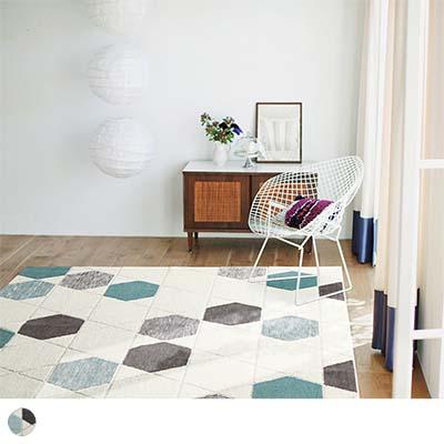 ラグ ~ハニカムドロップ~ ブルー 140×200cm