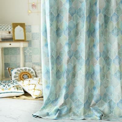 モロッカンタイルを窓一面に。アートのようなオリジナル非遮光カーテン~エッサウィラ~