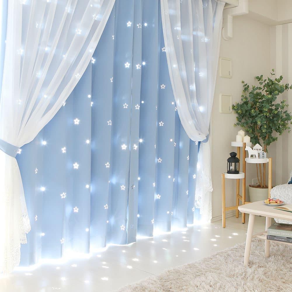 レーザーカットでデザインされた隙間から漏れ出す光がキラキラ綺麗な透かし彫りカーテン アイリス