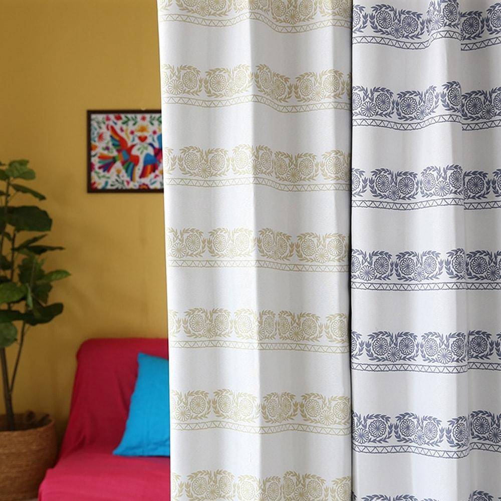 メキシコ刺繍を描いたシンプルな花のドレープカーテン~ケレタロ~