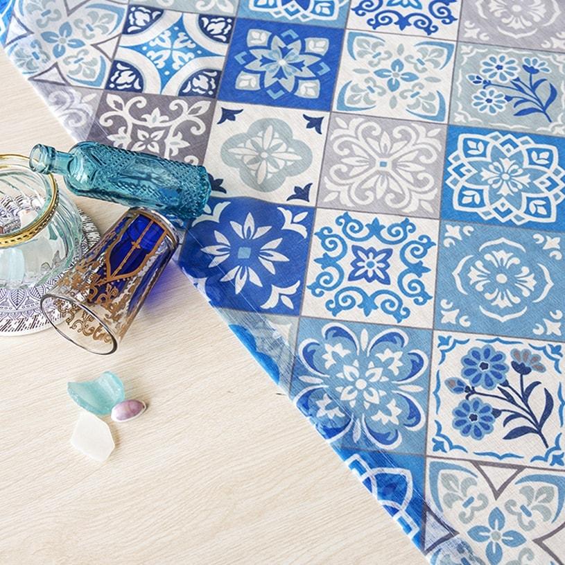 当店オリジナル!正方形のタイルがパッチワークのように並んだ異国情緒あるデザインのトレンドカラーレースカーテン