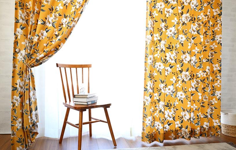 こっくりしたカラーがチャーミングなクラシカル・フラワーのカーテン~クロエ~