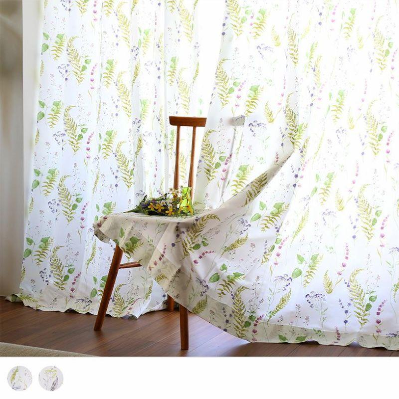 ナチュラルに、そしてエレガントに窓辺を彩るフローラルカーテン~ピアンタ~/ ベーシックスタイル 標準1.5倍ヒダ(2つ山)